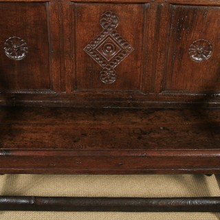 Small Antique English Georgian Carved Oak High Back Hall Bench Settle (Circa 1750)
