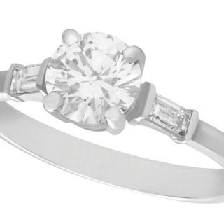 1.03 ct Diamond and Platinum Solitaire Ring - Art Deco Style - Contemporary Circa 2000