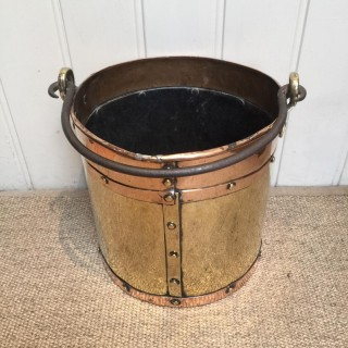 Late 19 th Century Brass And Copper Bucket