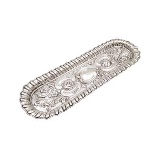 Antique Edwardian Sterling Silver Pen Tray 1902