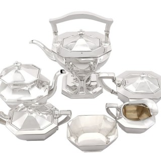 American Sterling Silver Six Piece Tea and Coffee Service - Queen Anne Style - Antique Circa 1900