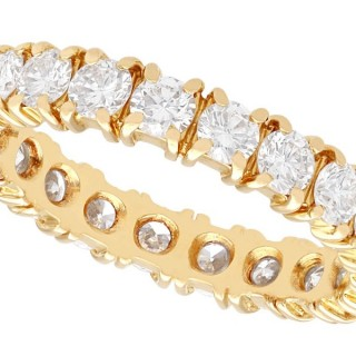 1.95ct Diamond and 18ct Yellow Gold Full Eternity Ring - Vintage French Circa 1980