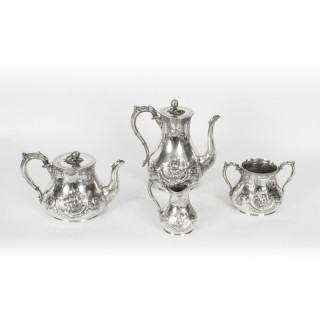 Antique Victorian Silver Plated Four Piece Tea & Coffee Set 19th C