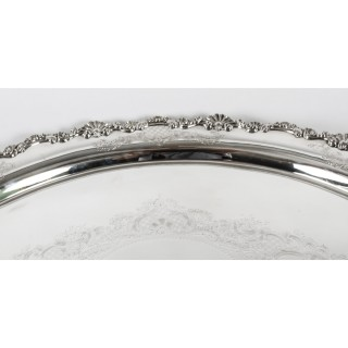 Antique Irish Silver Plated Oval Twin Handled Tray W. Gibson 1870