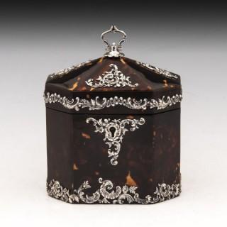 Tortoiseshell & Silver Tea Caddy