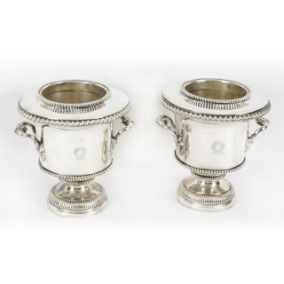 Antique Pair Regency Old Sheffield Plate Wine Coolers Pearson Crests 19th C