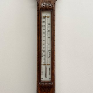 Victorian Carved Oak Admiral Fitzroy Storm Barometer by J Hicks of London