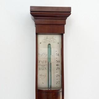 William IV Scottish Mahogany Stick Barometer by Adie & Son Edinburgh