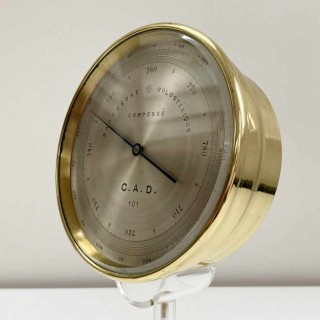 Late Victorian Cased Aneroid Barometer Altimeter by Pertuis, Naudet, Hulot & Bourgeois (PNHB)