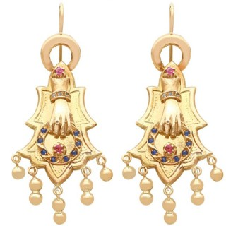 0.35ct Sapphire and 0.27ct Ruby, 14 ct Yellow Gold Earrings - Antique Circa 1880