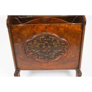 Antique Victorian Burr Walnut Music Canterbury Magazine Rack 19th C