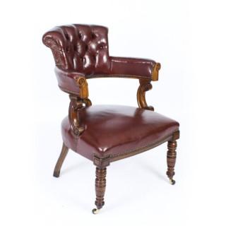 Antique Victorian Oak Leather Desk Chair Tub Chair c.1880