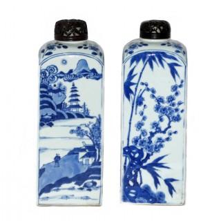 Chinese Blue and White pair of Gin  / Spirit Bottles