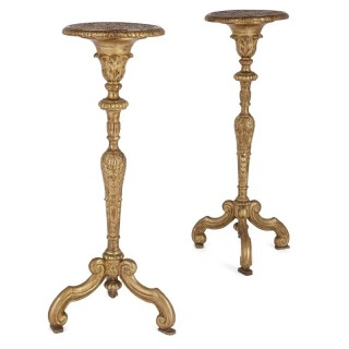 Pair of antique French giltwood torchère stands