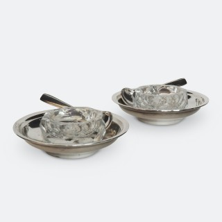 Pair of Christofle Silver and Crystal Condiment Dishes or Salt Cellars