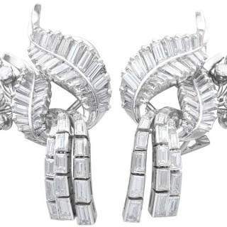 5.90ct Diamond and Platinum Tassel Earrings - Vintage Circa 1950
