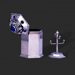 A fine Liberty & Co silver and lapis lazuli ring box by Bernard Cuzner