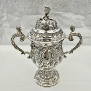 Antique George II Large Rococo Silver Cup & Cover London 1755 William Grundy
