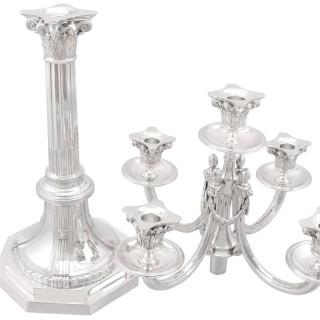 Sterling Silver Five Light Candelabra - Empire Style - Antique Circa 1930
