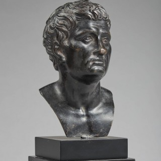 A Small Bronze Bust of a Man All'Antica