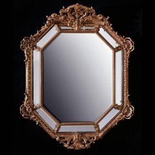 Large 19th Century French Octagonal Gilt Cushion Mirror