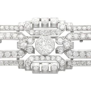 5.44ct Diamond and Platinum Brooch - Art Deco - Antique French Circa 1925
