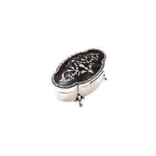 Antique Sterling Silver & Tortoiseshell Trinket Box 1911