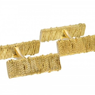 Georges Lenfant vintage yellow gold cufflinks, French, circa 1960.