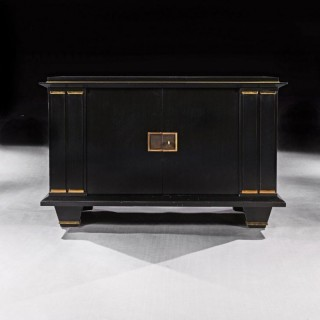 Jacques Adnet French Art Deco Modernist Ebonised Enfilade Sideboard With Gilt Bronze Mounts