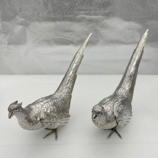 Antique Large Pair of European Sterling Silver Pheasants Circa 1900