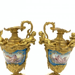 PAIR OF SEVRES STYLE JEWELLED PORCELAIN AND GILT METAL EWER VASES, 19TH CENTURY