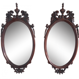 PAIR OF ANTIQUE VICTORIAN OVAL MAHOGANY MIRRORS, 19TH CENTURY