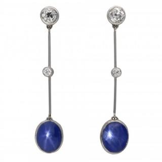 Edwardian star sapphire and diamond earrings, English, 1910.