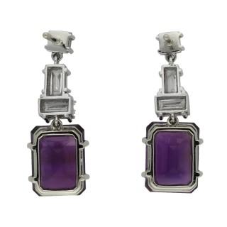 Amethyst and diamond drop earrings, circa 1950.