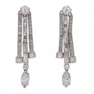 Diamond drop earrings, circa 1940.