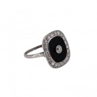 Onyx and diamond deco ring