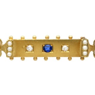 0.18ct Sapphire, Diamond and Pearl, 18ct Yellow Gold Bar Brooch - Antique Victorian (Circa 1890)