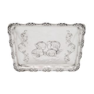 Antique Edwardian Sterling Silver 'Cherubs / Angels' Dressing Tray 1908