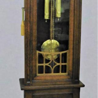 Arts and Crafts Oak Cased Longcase Clock