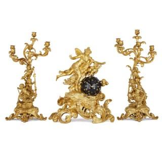 Napoleon III period three-piece gilt bronze clock set by Lerolle Frères