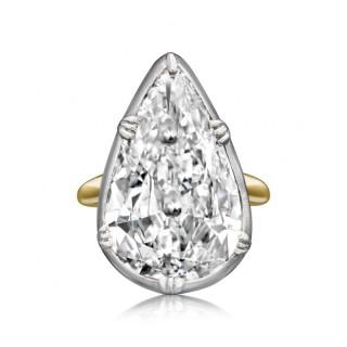 11.83ct Antique Old Mine Pear shape Diamond mounted by Hancocks