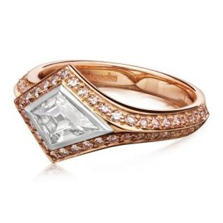 0.62ct Rare Kite Shape Fancy Gray-Blue Diamond & Pink Diamond ring by Hancocks