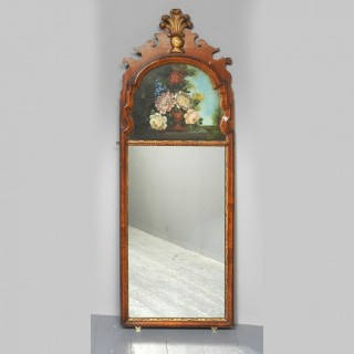 Gilded and Painted Walnut Wall Mirror