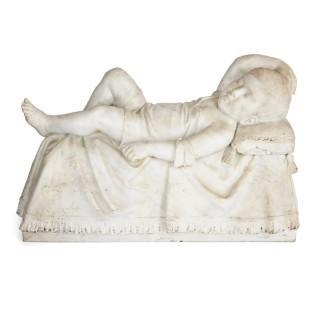 Antique 19th Century Italian sculpture of a sleeping child