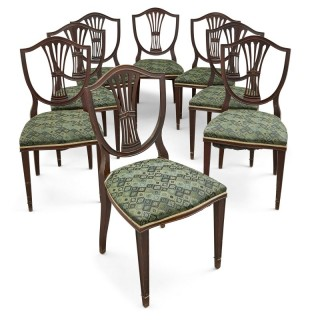 Set of eight upholstered dining chairs from Edwardian period