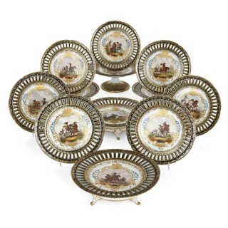 Antique German porcelain twelve piece dessert service