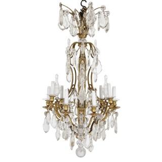 Antique French Belle Époque cut glass and gilt bronze chandelier