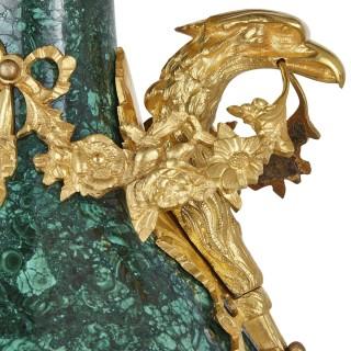 Pair of Empire style malachite and gilt bronze vases