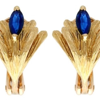 0.50ct Sapphire and 18ct Yellow Gold Earrings by Mellerio - Vintage Circa 1980