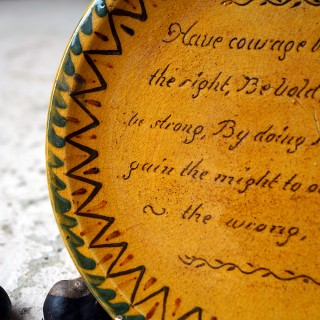 A Motto Slipware & Spongework Decorated Plate; 'Have Courage Boys To Do The Right' c.1915